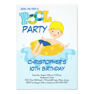 Boy Birthday Summer Pool Party Invitation