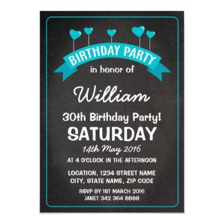 Boy Blue Chalkboard Balloon Hearts Birthday Party Card