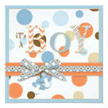 "BOY Blue Orange Brown Dots Baby Shower 5.25"" Square Invitation Card"