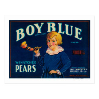 Boy Blue Pear Crate Label Postcard