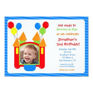Boy Bounce House Photo Birthday Invitation