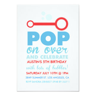 "(Boy) Bubble Party Themed Birthday Invite 5"" X 7"" Invitation Card"
