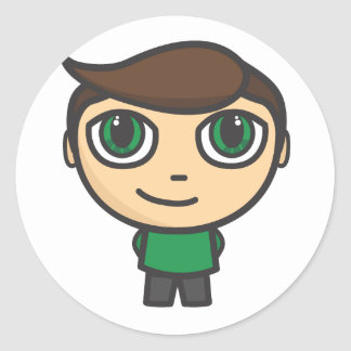 Boy Cartoon Character Round Sticker