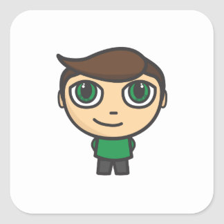 Boy Cartoon Character Square Sticker