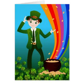 Boy celebrates Saint Patrick Day Card