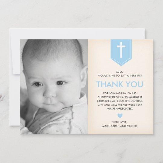 boy christeningbaptism thank you card  zazzleau