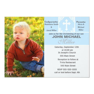 Boy Christening Invitation Blue Photo Card