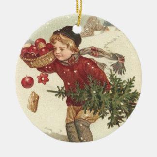 Boy Christmas Tree Presents Cottage Snow Ceramic Ornament