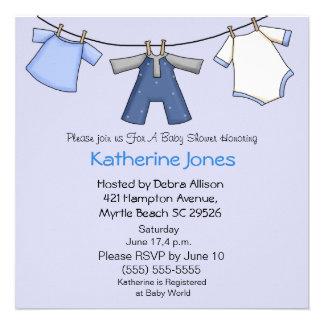 Boy Clothesline Shower Invitation