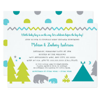 Boy couples baby shower | Nordic bears trees stars Card