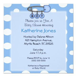 Boy Diaper Pin  Shower Invitation