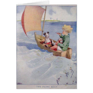 Boy & Dog in a Sailboat, Card