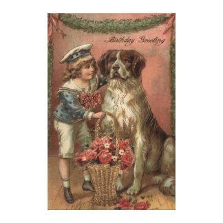 Boy Dog Rose Basket Birthday Canvas Prints
