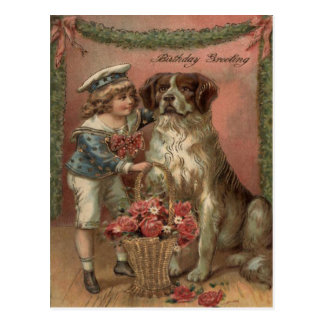 Boy Dog Rose Basket Birthday Postcard
