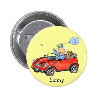 Boy Driving Red Car Birthday Sticker 6 Cm Round Badge