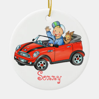 Boy Driving Red Toy Car Ornament