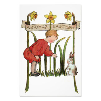 Boy Easter Bunny Daffodil Jonquil Photo
