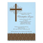 Boy Elegant Lace  Baptism | Christening Cross 13 Cm X 18 Cm Invitation Card