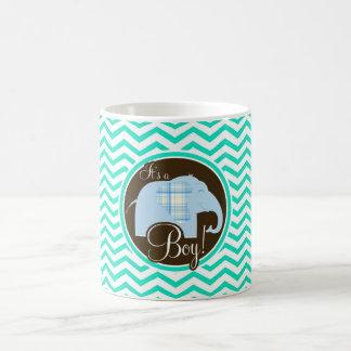 Boy Elephant Aqua Green Chevron Coffee Mugs