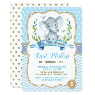 Boy Elephant Baby Shower Invitation Blue & Gold
