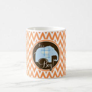 Boy Elephant Baby Shower Orange and White Chevron Coffee Mugs