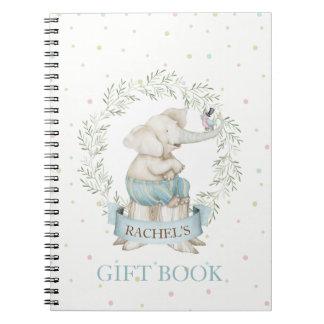 Boy Elephant Baby Shower Pink Green Beige Spiral Notebook