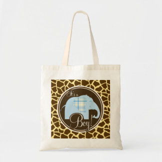 Boy Elephant Brown Giraffe Animal Print Tote Bag