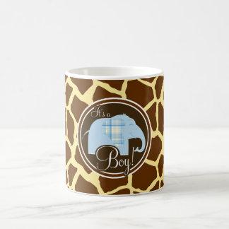 Boy Elephant Brown Giraffe Animal Print Mug