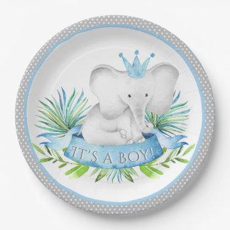 Boy Elephant Prince Baby Shower Paper Plates