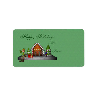 Boy Elf Gingerbread House Holiday Gift Tag Address Label
