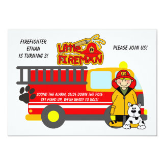 Boy Firefighter Fire Truck Birthday Invitation