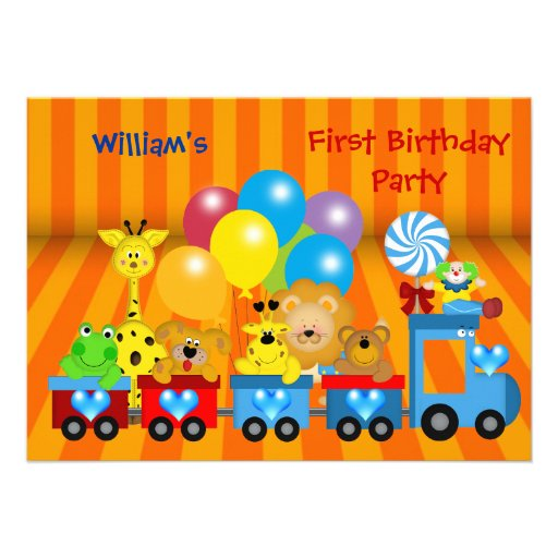 Boy First Birthday 1st Train Zoo Animals Party