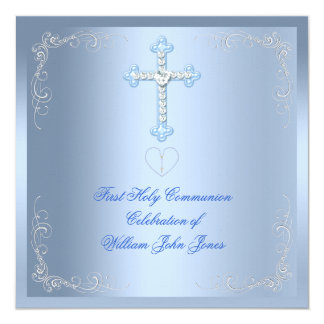Boy First Holy Communion Silver Blue 13 Cm X 13 Cm Square Invitation Card