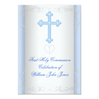 Boy First Holy Communion Silver Blue Invitations