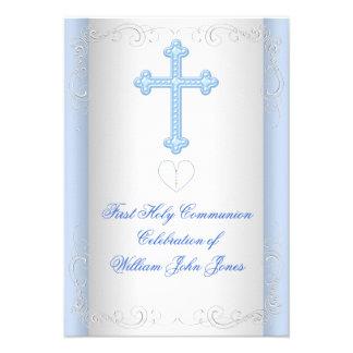 Boy First Holy Communion Silver Blue Invitations