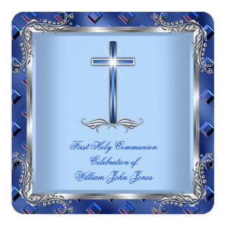 Boy First Holy Communion Silver Royal Blue 4B 13 Cm X 13 Cm Square Invitation Card
