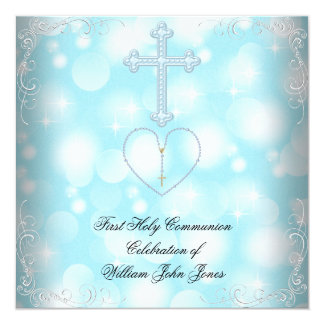Boy First Holy Communion White Blue Invites
