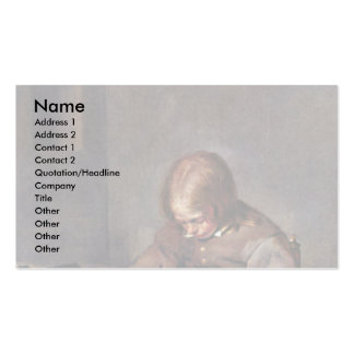 Boy Floht His Dog By Gerard Ter Borch Business Card