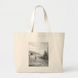 Boy fly fishing. large tote bag