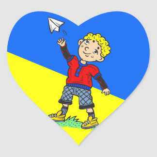 Boy Flying Paper Airplane Heart Sticker