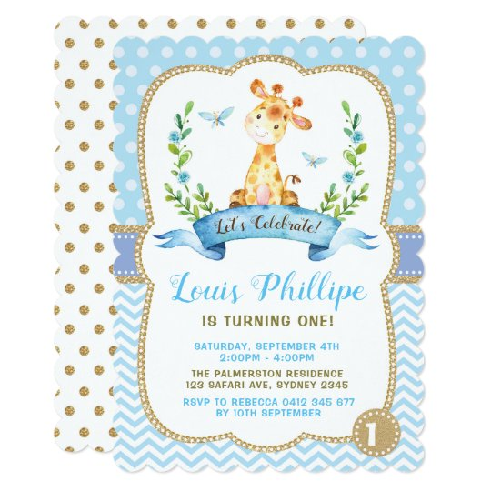 boy giraffe birthday invitation blue gold party zazzle com au