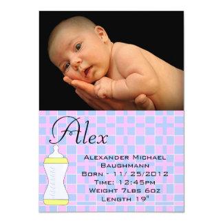 "Boy / Girl Baby Blanket Birth Announcement 4.5"" X 6.25"" Invitation Card"
