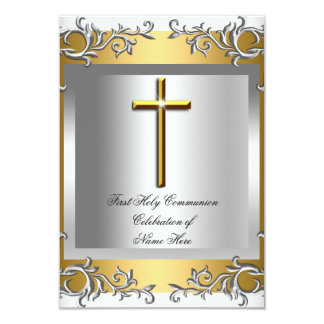 Boy Girl First Holy Communion Silver Gold Card