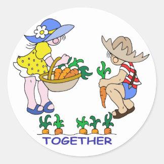 Boy & Girl Gardener Classic Round Sticker