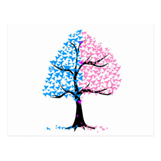 Boy Girl Hearts Tree Postcard