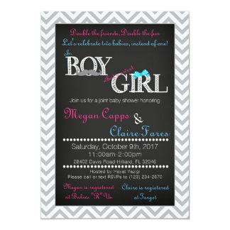 Boy Girl Joint Baby Shower Invitation & Book Card