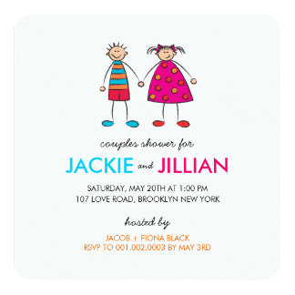Boy + Girl = Love Couples Shower Custom Invitation