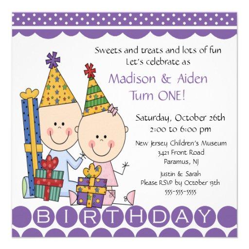 Boy & Girl Stick Figure Twins Birthday Invitation