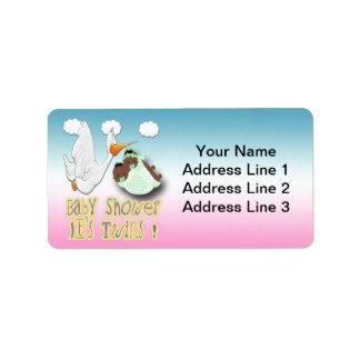 Boy & Girl Twins 2 -Stork Baby Shower Address Labe Address Label