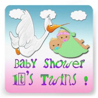 Boy & Girl Twins 2 - Stork Baby Shower Invitation